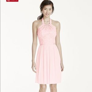 Bridesmaid Short Halter Lace & Mesh Dress in Petal